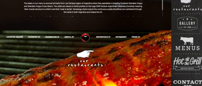 Cadava: work history, project image, fourcommunications, Angus Steakhouses